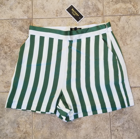 Juicy Couture Pants - NWT JUICY COUTURE BLACK LABEL SATIN STRIPED SHORTS